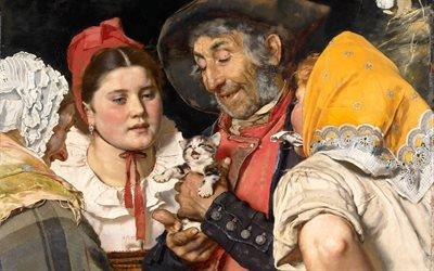 Карл Гассоу, Karl Gussow, немецкий художник, 1876, Котенок, холст, масло