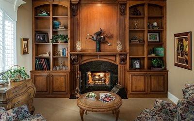 Интерьер гостиной с камином, Книжный шкаф, Журнальный столик