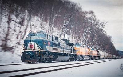 Снег, Зима, Локомотив, Пенсильвания, Snow, Winter, Locomotive, Pennsylvania