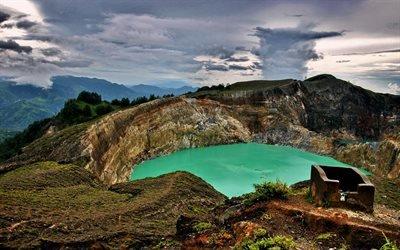 вулканічне озеро, озеро, вулкан, кратер