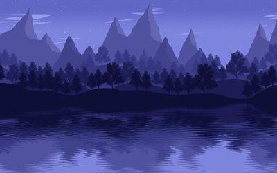Озеро, Лес, Горы, Минимализм