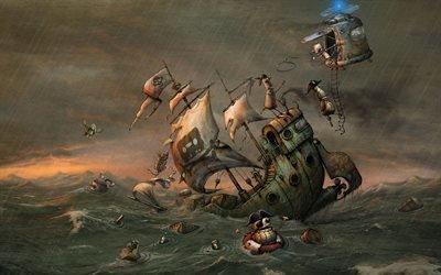 Фэнтези, Арт, Стимпанк, Роботы, Пираты, Кораблекрушение
