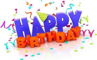 С Днем Рождения, 3д надпись, Happy Birthday, ленты, прадник