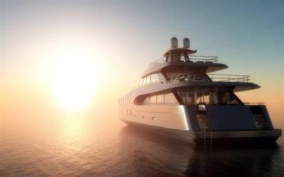 роскошная яхта, закат, море, ОАЭ, красивая яхта