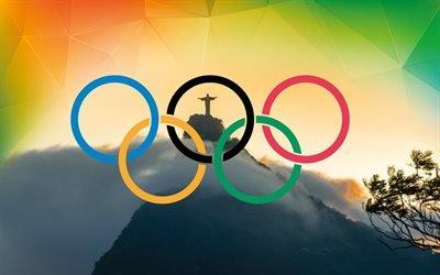 олимпийские кольца, Рио 2016, Бразилия, статуя Христа, олимпиада 2016, олімпійські кільця, Ріо 2016, Бразилія, Олімпіади 2016
