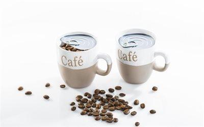 Обжаренные зерна кофе, Чашки, Крышка