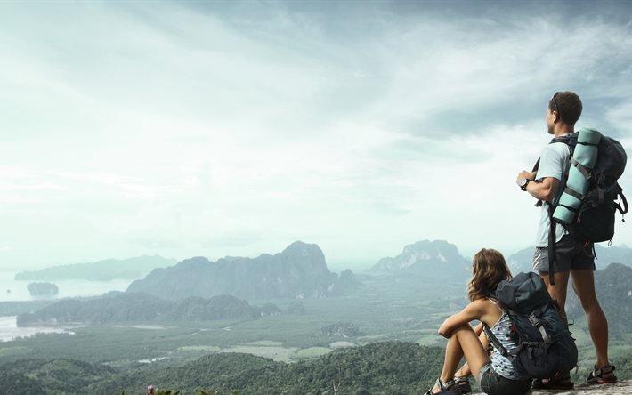 путешествие, поход в горы, путешественники, пара молодых людей, подорож, похід в гори, мандрівники, пара молодих людей