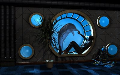девушка, комната, иллюминатор, вода, дельфин, окно, window, dolphin, water, porthole, room, girl