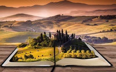 книга, писатель, читать, пейзаж, бумага