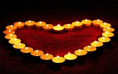свечи, сердце, пламя, любовь, романтика, огонь, красный, поздравление