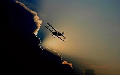 самолет, полет, авиация, небо, облака