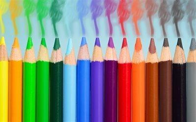 карандаш, дым, красочный, спектр