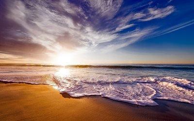 калифорния, закат, небо, облака, море, волны, пляж, песок, горизонт