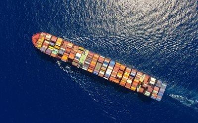 контейнеровоз, море, вид с высоты, большой корабль
