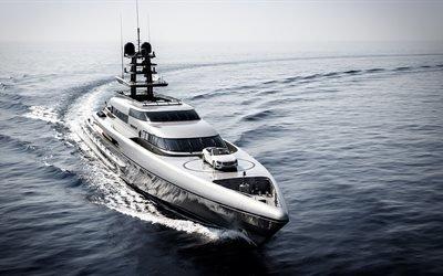 роскошная яхта, море, катер, волны, дорогая яхта