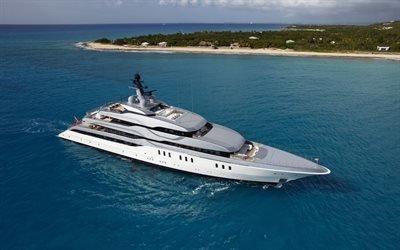 океан, белая яхта, тропические острова, роскошная яхта, побережье