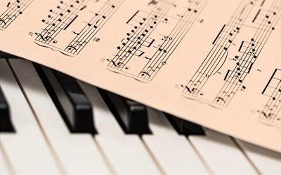 Музыка, Ноты, Пианино, Клавиши