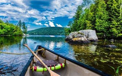 Лодка, Река, Лес, Квебек, Канада