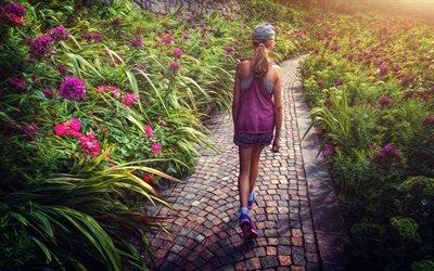 Сад, Аллея, Цветы, Девочка, Гармония