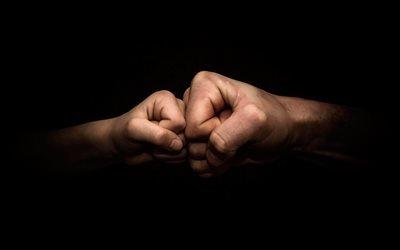 папа и сын, руки, кулак к кулаку, сила, мужики