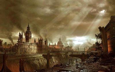Постапокалипсис, Лондон, Развалины, Биг Бен
