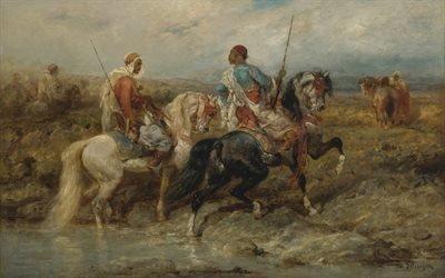 Адольф Шрейер, Adolf Schreye, немецкий живописец, german painter, Вброд, Fording a stream