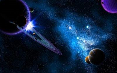 планеты, звезды, галактика, туманность, вселенная