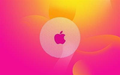 Эпл, логотип, абстрактный фон, Apple