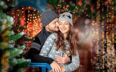 пара, мужчина, девушка, праздник, новый год, рождество, ёлка, боке, декорация, радость