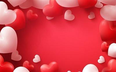 День Святого Валентина, разные сердца, 3д сердца, розовое сердце