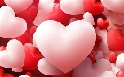 3д сердце, разноцветные сердца, День Святого Валентина, любовь