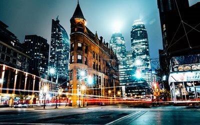 город, ночь, свет, огни, фонари, улица, здания, дорога