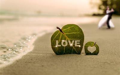 побережье, берег, волна, песок, листья, сердце, LOVE, пара