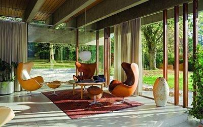 Гостинная в стиле Скандинавский Модерн, Кресла, Журнальный столик