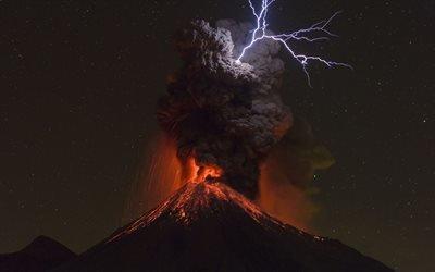 Вулкан, Извержение, Колима, Мексика, Volcan de Colima, Mexico