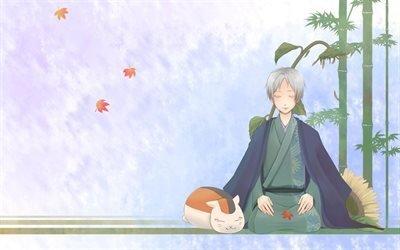 листья, подсолнух, guy, bamboo, бамбук, парень, рисунок, cat, sunflower, кот, drawing, foliage