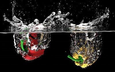 фрукты, жидкость, вода, природа, падение, пузыри, брызги воды