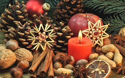 праздник, новый год, рождество, ветки, ёлка, игрушки, шар, звёзды, шишки, специи, пряности, свеча