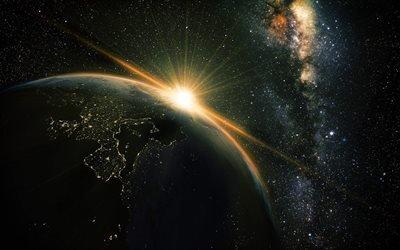 планета Земля, открытый космос, солнце, звезды