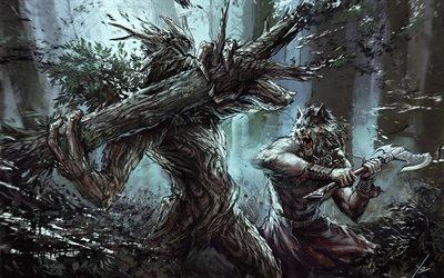 Вервольф, бой, монстр, лес, werewolf