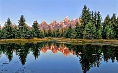 природа, осень, горы, лес, деревья, небо, отражение