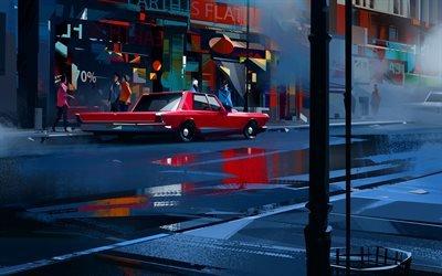 Улица, Фонарь, Автомобиль