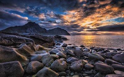 Закат, Камни, Прибой, Норвежское море, Лофотенские острова, Норвегия, Lofoten, Norway