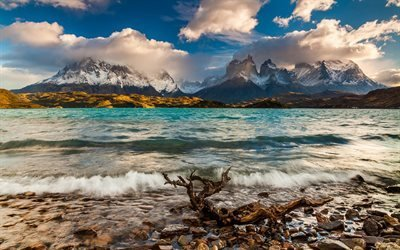 Патагония, горы, Торрес-дель-Пайне, лето, красивый пейзаж